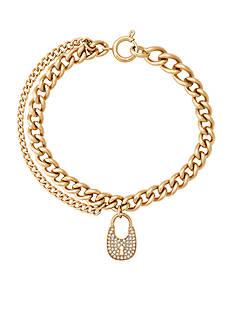 Michael Kors Gold-Tone Pave Padlock Charm Chain Bracelet