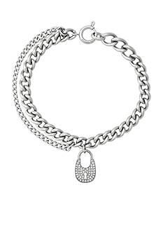 Michael Kors Silver-Tone Pave Padlock Charm Chain Bracelet