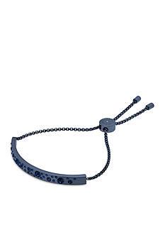 Michael Kors Scattered Pave Blue IP Brushed Bar Slider Bracelet