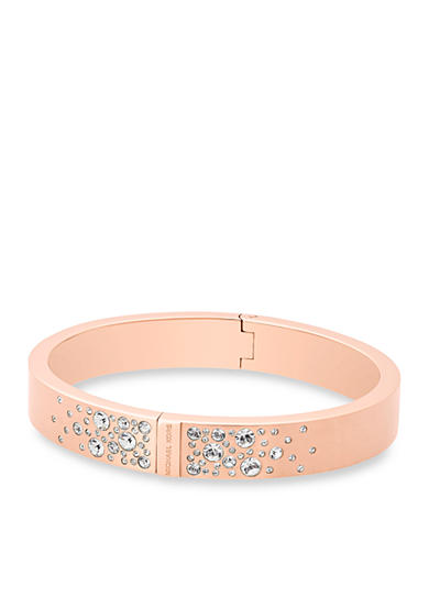 Michael Kors Jewelry Rose Gold-Tone Brushed Hinged Bangle Bracelet