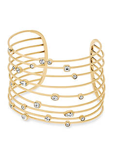 Michael Kors Gold-Tone Set Stone Statement Open Cuff Bracelet