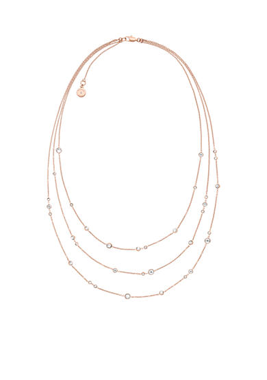 Michael Kors Rose Gold-Tone Multi-Strand Station Necklace