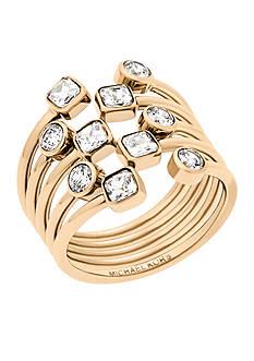 Michael Kors Gold-Tone Mixed Shape CZ Stone Statement Ring
