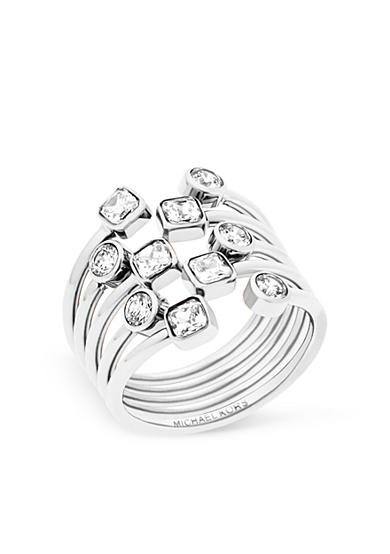 Michael Kors Silver-Tone Mixed Shape CZ Stone Statement Ring