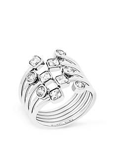 Michael Kors Silver-Tone Mixed Shape CZ Stone Statement Ring