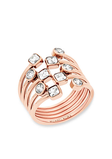 Michael Kors Rose Gold-Tone Mixed Shape CZ Stone Statement Ring