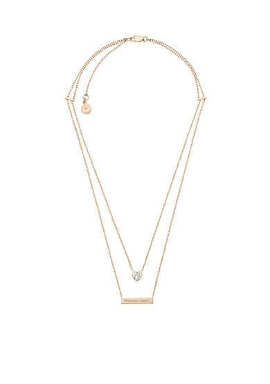 Michael Kors Gold-Tone Double Layer Heart Pendant Necklace
