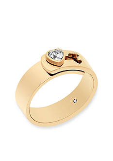 Michael Kors Gold-Tone CZ Hearts Band Ring