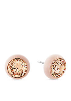 Michael Kors Rose Gold-Tone Valentine's Day Blush and Pav Crystal Round Stud Earrings
