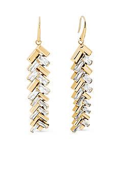 Michael Kors Gold-Tone Chevron and Fringe Drop Earrings