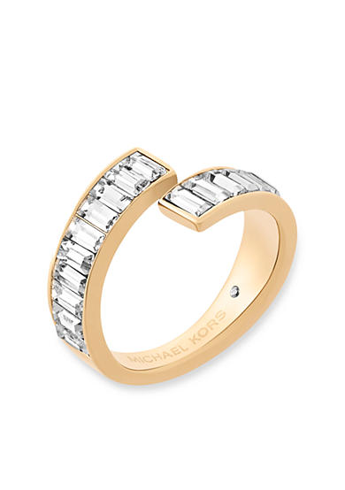 Michael Kors Gold-Tone and Crystal Modern Baguette Bypass Ring