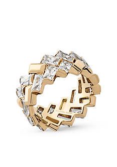 Michael Kors Gold-Tone and Crystal Chevron & Fringe Statement Ring