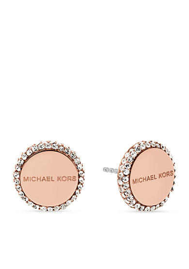 Rose-Gold Logo Disc Stud Earrings