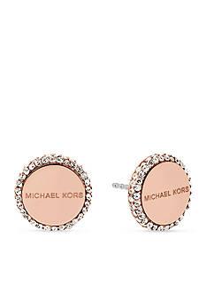 Michael Kors Jewelry Rose-Gold Logo Disc Stud Earrings