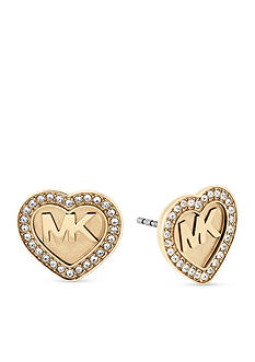 Michael Kors Gold-Tone Logo Heart Stud Earrings
