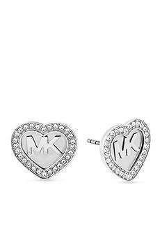 Michael Kors Silver-Tone Logo Stud Earrings