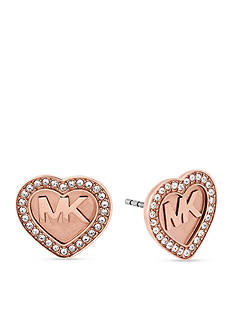 Michael Kors Rose Gold-Tone Logo Stud Earrings