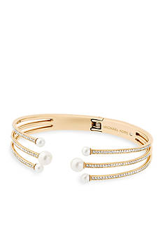 Michael Kors Modern Classic Pearl Gold-Tone, Pave Crystal and White Pearl Hinged Bracelet