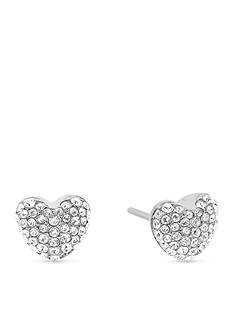 Michael Kors Pave Hearts Silver-Tone and Crystal Heart Stud Earrings