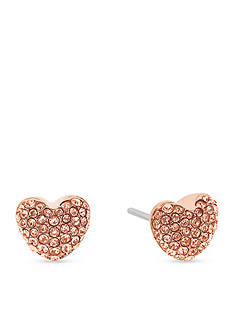 Michael Kors Pave Hearts Rose Gold-Tone and Peach Crystal Heart Stud Earrings