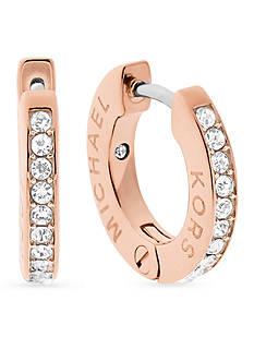 Michael Kors Haute Hardware Rose Gold-Tone and Crystal Huggie Hoop Earrings