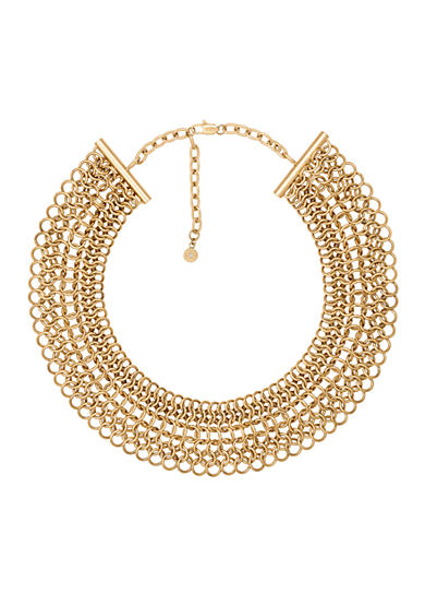Michael Kors Feminine Glam Gold Toned Wide Chain Necklace
