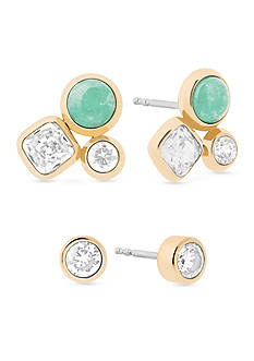 Michael Kors Easy Opulence Gold-Tone, Crystal and Blue Mountain Jade Cluster Stud Earrings Set