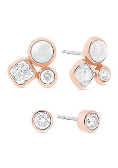 Michael Kors Easy Opulence Rose Gold-Tone, Crystal and White Jade Cluster Stud Earrings Set