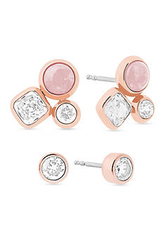 Michael Kors Easy Opulence Rose Gold-Tone, Crystal and Rose Quartz Cluster Stud Earring Set