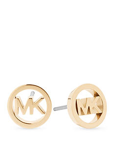 Michael Kors Haute Hardware MK Logo Gold-Tone Stud Earrings