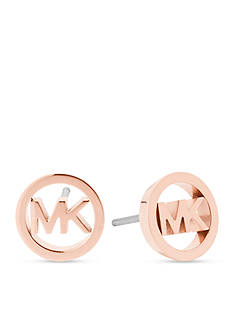 Michael Kors Haute Hardware MK Logo Rose Gold-Tone Stud Earrings