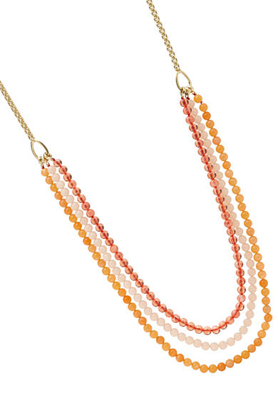 Fossil® Drama Triple Strand Pendant Necklace in Shades of Peach