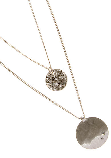 Kenneth Cole Silver-Tone Double Layered Pendant Necklace