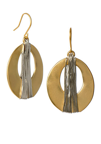 Kenneth Cole Wire-Wrapped Oval Drop Earrings