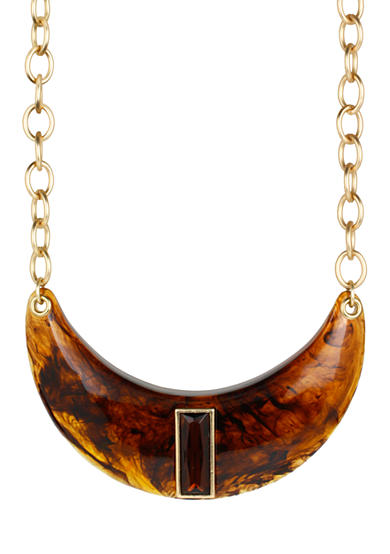 Tortoise Half Moon Frontal Necklace