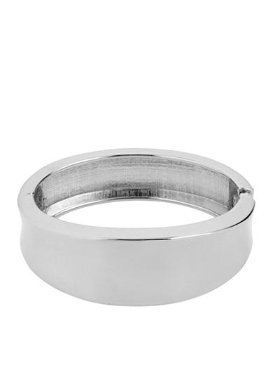 Kenneth Cole Silver Sculptural Hinged Bangle Bracelet