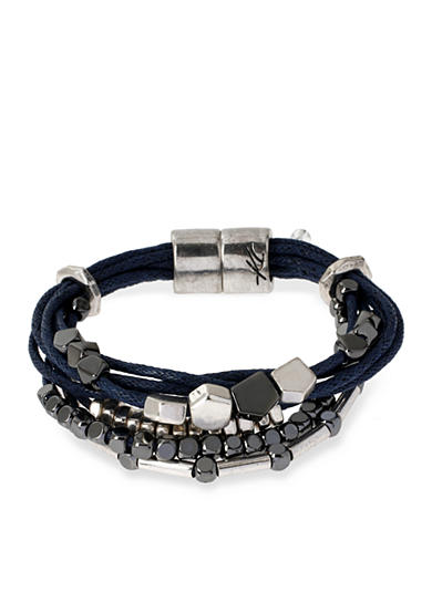 Kenneth Cole Silver-Tone with Blue Mixed Bead Multistrand Bracelet