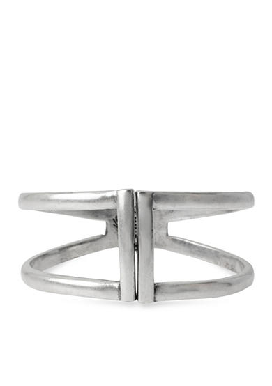 Kenneth Cole Silver Two Row Hinged Bangle Bracelet