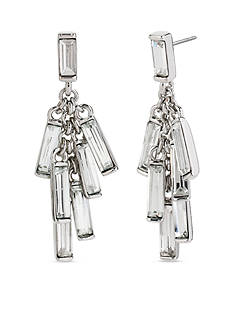 Kenneth Cole Silver-Tone Shaky Crystal Baguette Stone Chandelier Earrings