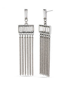 Kenneth Cole Siver-Tone Crystal Baguette Multi Chain Chandelier Earrings