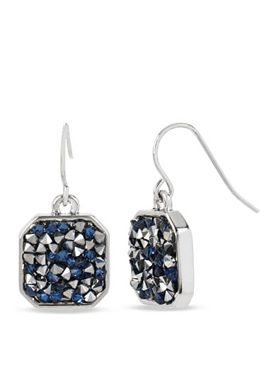 Kenneth Cole Silver-Tone Mixed Sprinkled Stone Drop Earrings