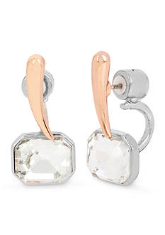 Kenneth Cole Rose Gold-Tone Crystal Stone Front and Back Earring
