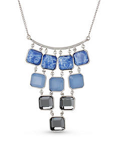 Kenneth Cole Silver-Tone Mixed Semiprecious Faceted Stone Statement Necklace