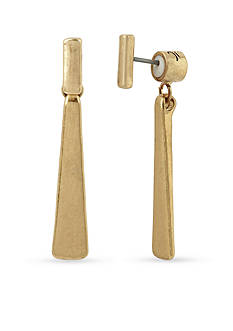 Kenneth Cole Gold-Tone Geometric Stick Front and Back Earrings
