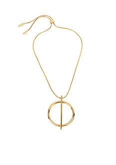 Kenneth Cole Gold-Tone Geometric Circle Pendant Adjustable Necklace