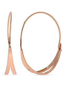 Kenneth Cole Rose Gold-Tone Cut-Out Hoop Earrings