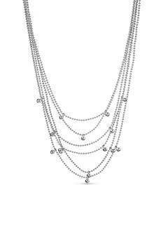 Kenneth Cole Silver-Tone Crystal  Layered Necklace