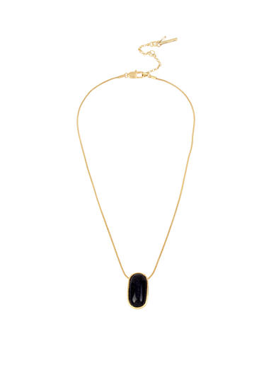 Kenneth Cole Semiprecious Blue Sandstone Oval Stone Pendant Necklace