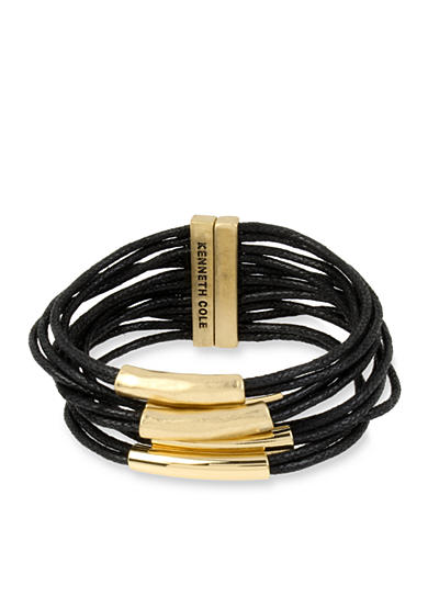 Kenneth Cole Gold-Tone Sculptural Metal Tube Multi Row Bracelet