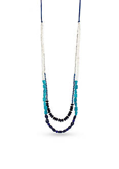 Kenneth Cole Silver-Tone Mixed Blue Long Necklace